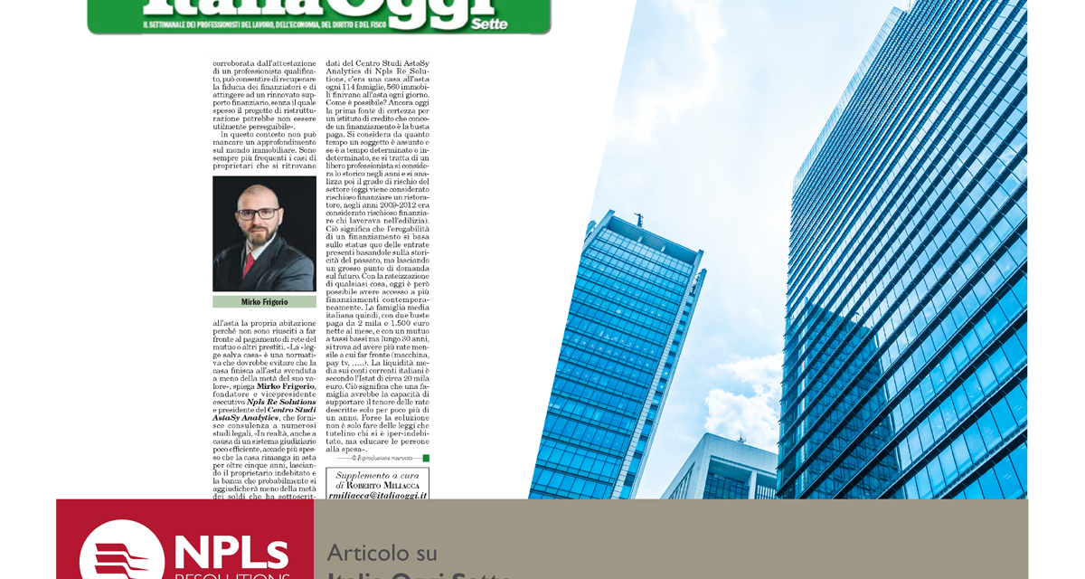 Mirko Frigerio su Italia Oggi Sette